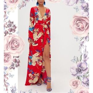 Kimono Red Floral Print Maxi Dress PLT